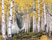 Bull Elk Digital Art Posters - Elk in Aspen Grove Poster by Russ  Smith