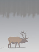 Robert Bissett Prints - Elk in Winter Print by Robert Bissett