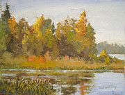 Autumn Landscape Paintings - Elk Island 5 by Mohamed Hirji