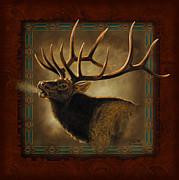 Hunting Cabin Painting Framed Prints - Elk Lodge Framed Print by JQ Licensing