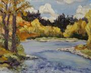 Mountains Paintings - Elk River Fall Steamboat Springs Colorado by Zanobia Shalks