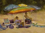 Beach Umbrellas Pastels Posters - Elkins South Beach Poster by David Patterson