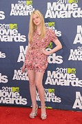 Platform Shoes Framed Prints - Elle Fanning Wearing A D&g Outfit Framed Print by Everett