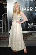 White Dress Prints - Elle Fanning Wearing A Vintage Dress Print by Everett