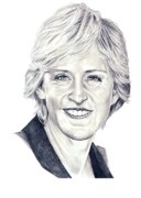 Famous People Drawings - Ellen DeGeneres by Murphy Elliott