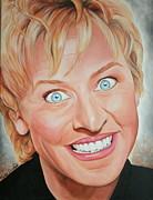Portraits By Timothe Framed Prints - Ellen DeGeneres Framed Print by Timothe Winstead