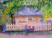 Potting Shed Prints - Ellens Potting Shed 2 Print by Vivian Larson