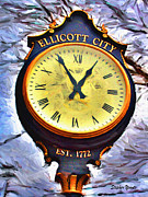 Md Digital Art - Ellicott City Clock by Stephen Younts