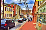 Md Digital Art - Ellicott City Sidewalk by Stephen Younts