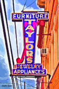 Howard County Posters - Ellicott City Taylors Sign Poster by Stephen Younts