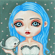 Pop Surrealism Paintings - Ellie and the White Whale by Nicole Chen