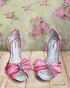 Background Paintings - Ellies Pink Shoes by Gail McCormack