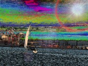 Freeway Digital Art - Elliott Bay Sail 2 by Tim Allen