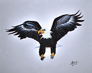 American Eagle Painting Posters - Elliott the Eagle Poster by Adele Moscaritolo