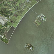 Liberty Island Framed Prints - Ellis And Liberty Islands, Aerial Image Framed Print by Getmapping Plc
