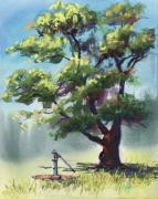 Tree Art Pastels - Elm Tree Oasis by Christine Kane