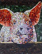 Pig Glass Art Posters - Elmer Poster by Barbara Benson Keith