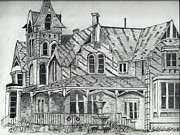 Old Houses Drawings - Elmhurst Inn-CA by Jim Patrick