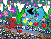 Green Monster Paintings - Elmo and the Cookie Monster by Frank Strasser