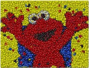 M And Ms Framed Prints - Elmo MM Candy Mosaic Framed Print by Paul Van Scott