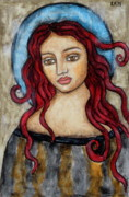 Christian Art . Devotional Art Painting Metal Prints - Eloise Metal Print by Rain Ririn