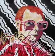 Elton John Painting Metal Prints - Elton John - Rocket Man Metal Print by Lesley Giles