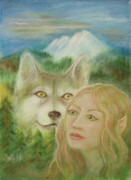 Wolf Paintings - Elven Dream by Bernadette Wulf