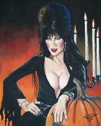 Mistress Prints - Elvira Mistress of the Dark Print by Tom Carlton