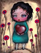 Outsider Art Painting Prints - Elviras Heart  Print by  Abril Andrade Griffith
