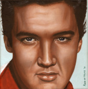 Elvis Portrait Paintings - Elvis 24 1958 by Rob De Vries