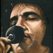 Elvis Portrait Paintings - Elvis 24 1972 by Rob De Vries