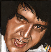 Seventies Painting Posters - Elvis 24 1976 Poster by Rob De Vries