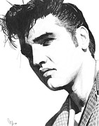 Celebrity Art Drawings - Elvis by Bobby Shaw