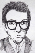 Elvis Drawings - Elvis Costello by John Keaton