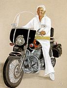 Men Pastels Posters - Elvis Giles Rides Again Poster by Jan Amiss