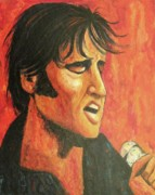 Sideburns Painting Prints - Elvis in Black and Red Print by Suzanne  Marie Leclair