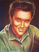 Musicians Pastels Framed Prints - Elvis In Color Framed Print by Anastasis  Anastasi
