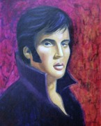 Sideburns Painting Framed Prints - Elvis in Purple Framed Print by Suzanne  Marie Leclair