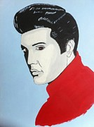Elvis Presley Painting Originals - Elvis In Red by Fred Colley