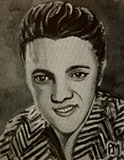 Elvis Presley Painting Metal Prints - Elvis in Z shirt Metal Print by Pete Maier