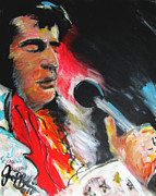 Blues Singers Paintings - Elvis  by Jon Baldwin  Art