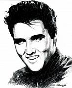 Black  Drawings Prints - Elvis Print by Lin Petershagen