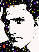 Musicians Drawings Posters - Elvis Living With The Stars Poster by Robert Margetts