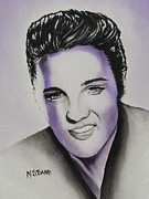 Head Shot Painting Prints - Elvis Print by Maria Barry
