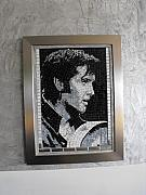 Elvis Presley Glass Art Originals - Elvis Presley- 2006 by Maria Carrasco