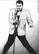 Music Drawings Framed Prints - Elvis Presley I Framed Print by Dan Clewell
