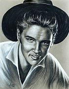Musicians Pastels Framed Prints - Elvis Presley In Black N White Framed Print by Anastasis  Anastasi