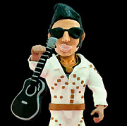 Sunglasses Sculpture Posters - Elvis Presley Poster by Louisa Houchen