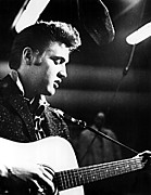 Elvis Photos - Elvis Presley, Recording In The Studio by Everett