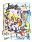 Cubism Drawings Posters - Elvis Poster by Robert Wolverton Jr